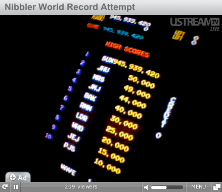 Nibbler World Record Attempt - final score 945,939,420